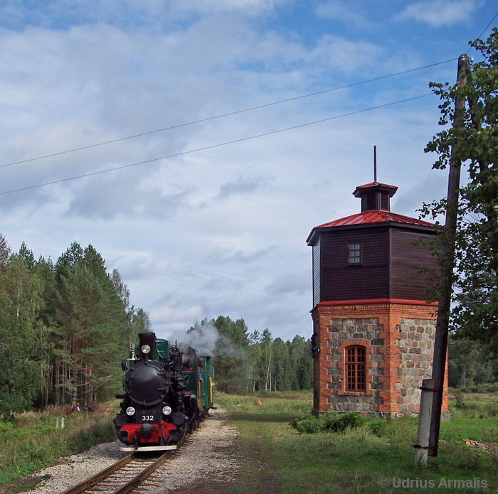a typical baltic railway water tower