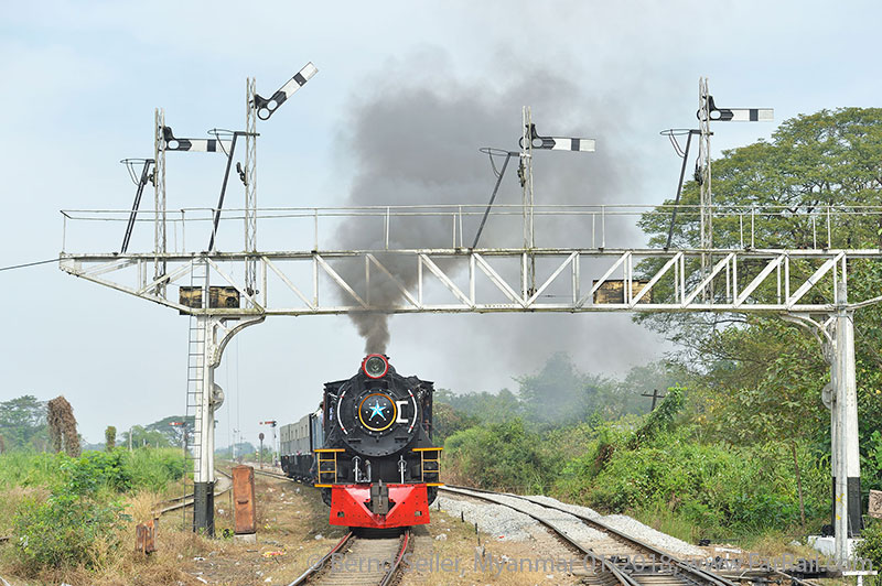 Mainline steam in Burma/Myanmar: Bago Gantry