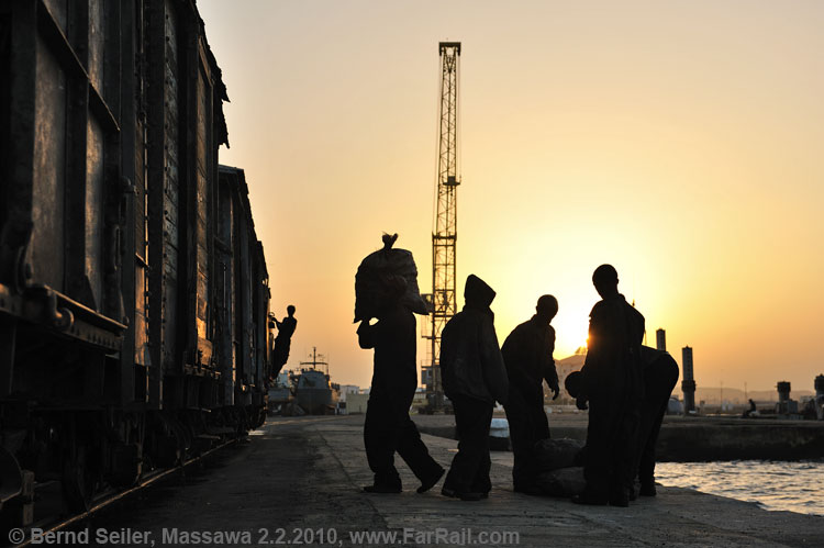 loading freights in the Massawa harbour